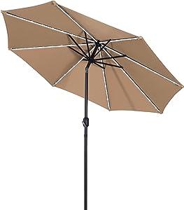 Aok Garden 9 Ft LED Light Bars Patio Outdoor Umbrella Solar Power Market Table Fade-Resistant Umbrella with Push Button Tilt & Crank and 8 Sturdy Ribs (Solar LED,Coffee)