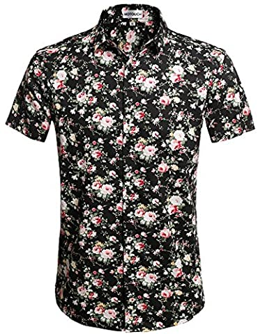 HOTOUCH Men's Peony flower Printing Polo Shirts(L Black Pink? - Pink Floral Shirt