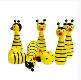 Boule de bowling en bois de Massif, 2boules et 6broches, jaune, les fourmis 2boules et 6broches Blancho Bedding