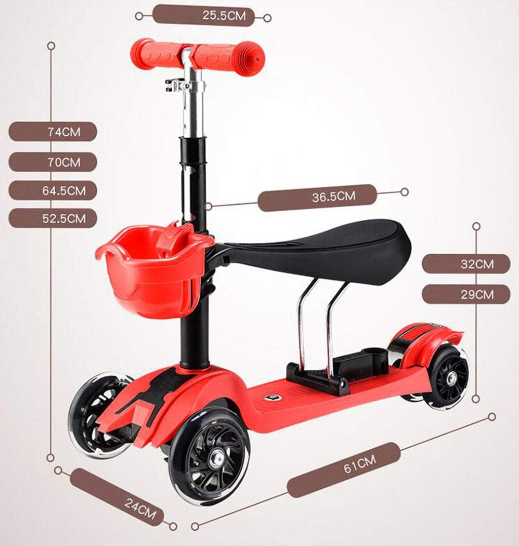 Children's scooter kick scooter children's kids 4 wheel scooter, 3 in 1 super wide wheel kids scooter with detachable seat, adjustable height handle, scooter children boys and girls 1 to 6 years old by JBHURF (Image #2)