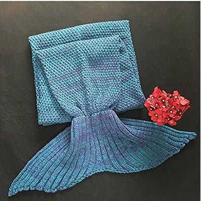 La petite sirène de plumes de queue de poisson de la climatisation canapé couverture couverture couverture pan knitting knitting de cadeaux d'anniversaire créatif , Bébé 90*50, Lake Blue