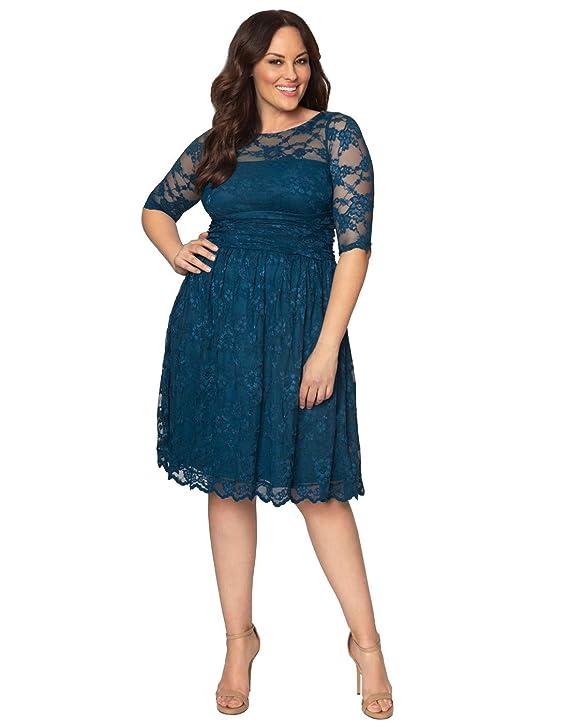 Kiyonna Women's Plus Size Luna Lace Cocktail Dress 4x Crazy About Blue