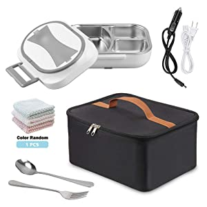 Electric Heating Bento Lunch Box Food Heater 12V 110V Dual Use Car Home Office Portable Meal Lunch Heater Food Warmer with Insulation Bag Cooler Reusable Tote Bag and Stainless Steel Container (gray)