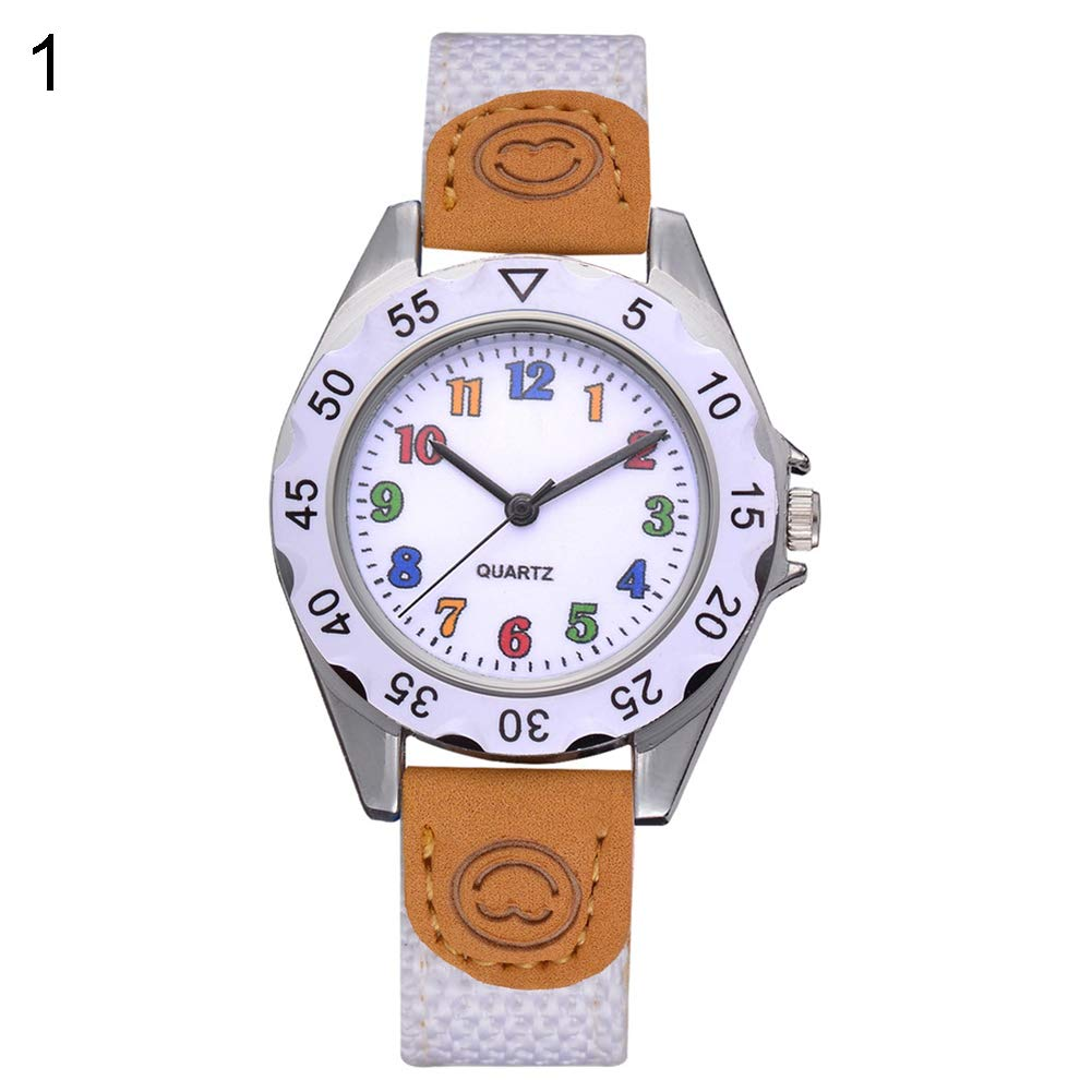 Fashion Children Kids Arabic Numbers Nylon Band Wristwatch Analog Quartz Watch Wrist Studens Watches