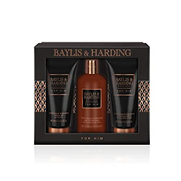 53b18755d2 Baylis   Harding Black Pepper and Ginseng Grooming Trio Gift Set   Amazon.co.uk  Beauty