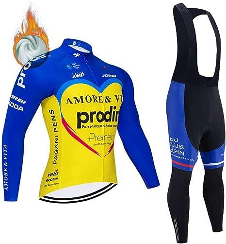 Pantaloni Lunghi da Bicicletta con Gel Pad 5D Invernale Tuta Maglia Ciclismo Maniche Lunga VFGSB Completo Abbigliamento Ciclismo da Uomo