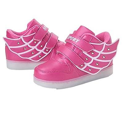Niños Zapatillas Led Luminioso con 7 Colores Unisex Hip Tops Sneakers Zapatos con Luces(Rosa