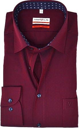 Marvelis Modern Fit New Kent - Camisa para hombre, color rojo oscuro rojo 48: Amazon.es: Ropa y accesorios