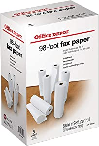 "Office Depot(R) High-Sensitivity Thermal Fax Paper, 1/2"" Core, 98ft. Roll, Box Of 6 Rolls"