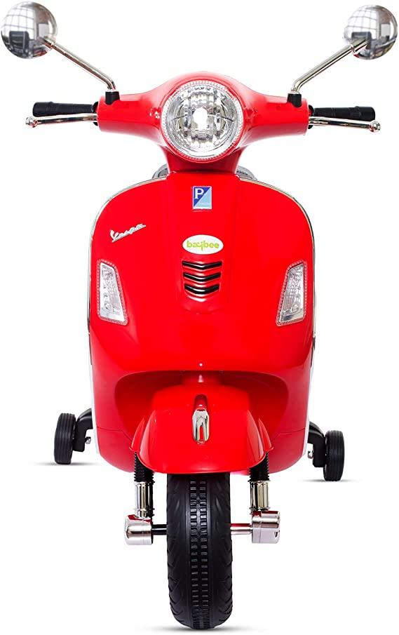 BAYBEE Baby Scooter Officially Licensed Vespa Battery Operated Ride on Bike with MP3/USB/TF Music | Headlights with 35kg in Weight- Red
