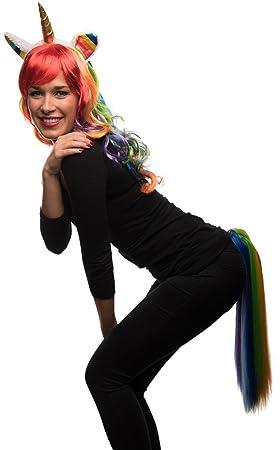 Balinco Unicornio Conjunto de Disfraz Compuesto de Arco Iris Unicornio Peluca + Unicornio Pelo Maduro +