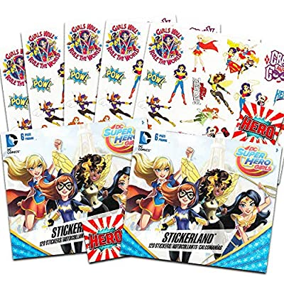 DC Superhero Girls Stickers Party Favors - Bundle of 12 Sheets 240+ Stickers Plus 2 Specialty Stickers