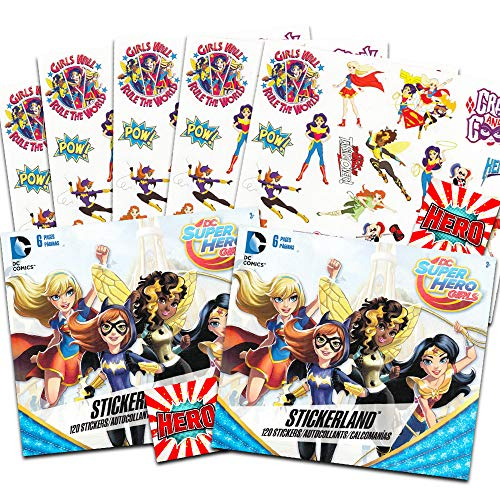 DC Superhero Girls Stickers Party Favors - Bundle of 12 Sheets 240+ Stickers Plus 2 Specialty Stickers -