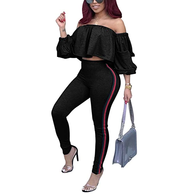 ca9d9d8ee307 Women's Sexy Two Piece Outfits Jumpsuit Clubwear Off Shoulder Crop Top Long  Pants Set Bodycon Striped