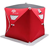 Goplus Portable Ice Shelter Pop-up Ice Fishing Tent Shanty 2 and 4-Person with Bag and Ice Anchors Red