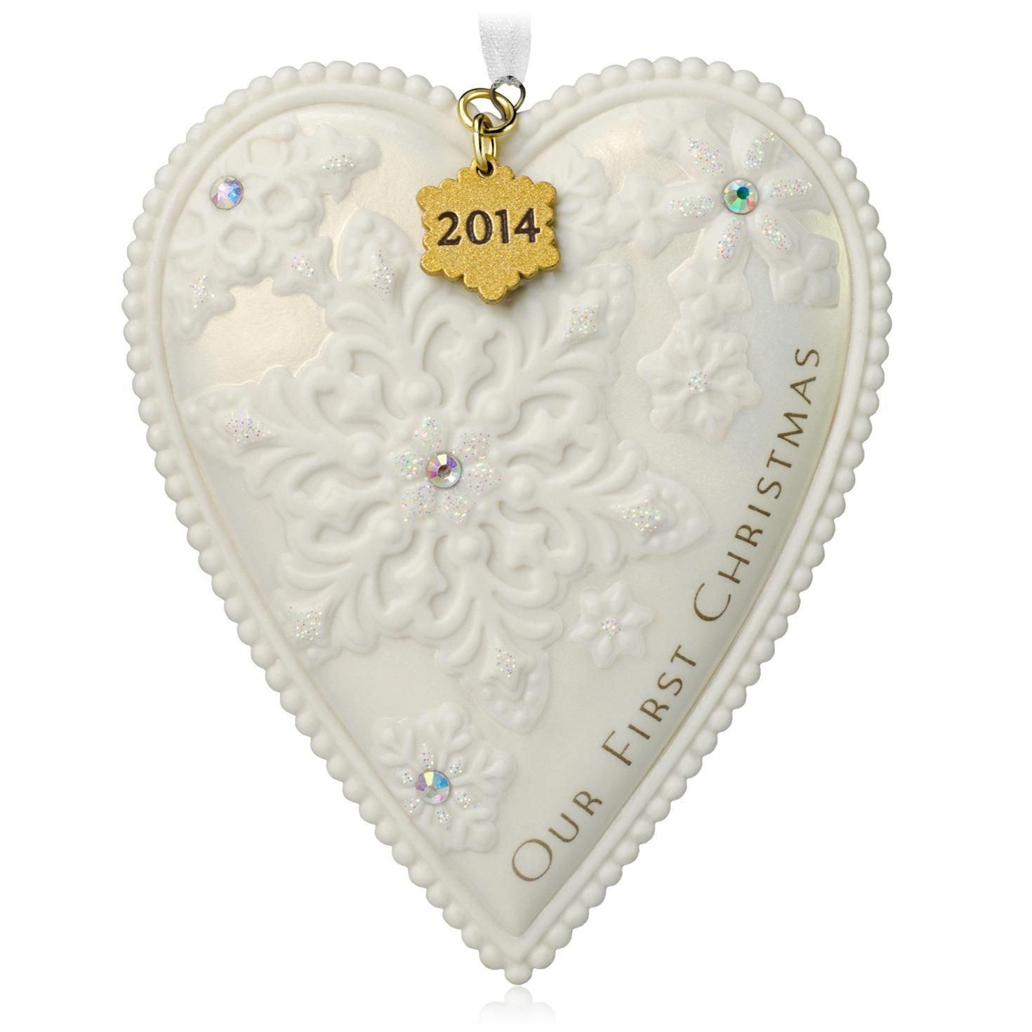 Amazon: Hallmark Qgo1156 Our First Christmas  Porcelain Heart 2014  Keepsake Ornament: Home & Kitchen