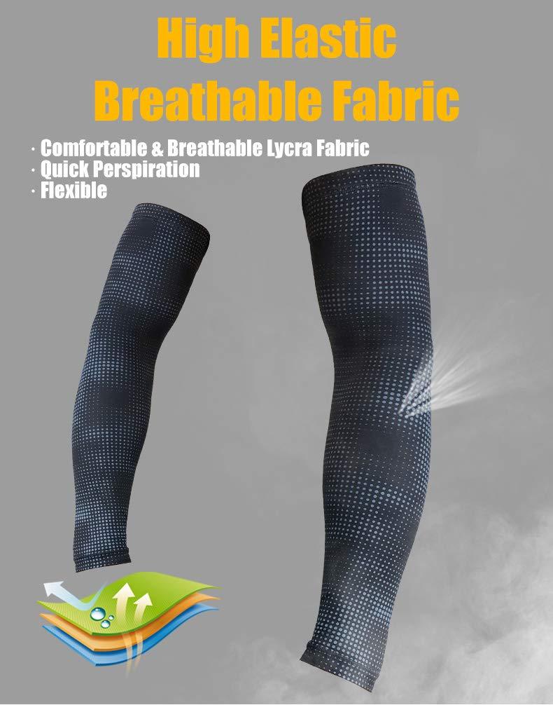 Doucow Manchette Bras Sport pour Adultes Manches Compression Manchettes de Bras de Cyclisme Sun UV Protection pour Hommes Femmes