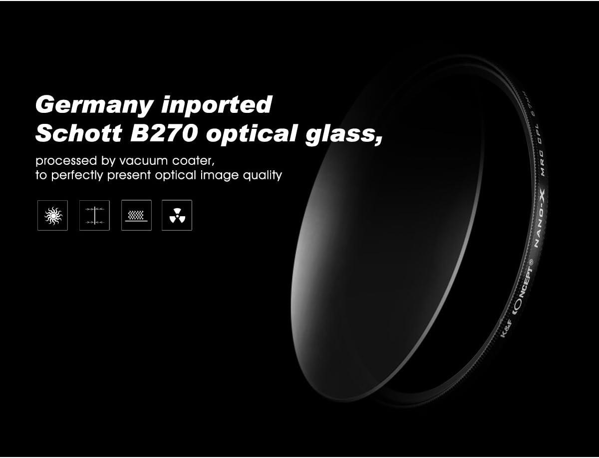 K/&F Nano-X Serie CPL Filter 82mm HD Polfilter 82mm Zirkularer Polarisationsfilter 82mm mit MRC Mehrschichtverg/ütung Gr/ünfolie