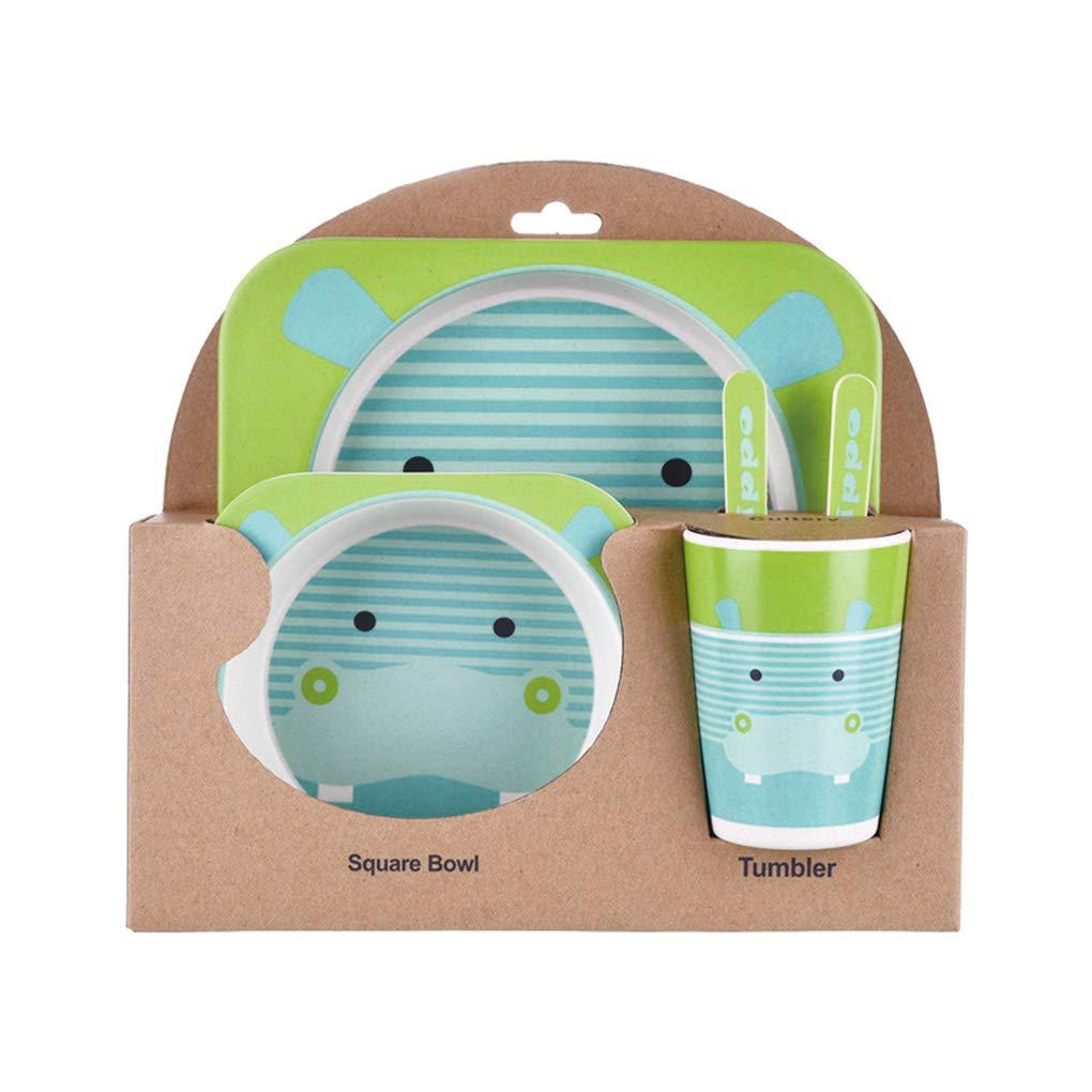 Topker Kids Tableware Set 5Pcs Baby Bamboo Fiber Cartoon Bowl Animal Dinnerware Set Toddler Cup Spoon Fork