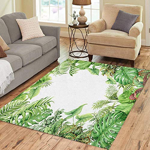 Pinbeam Area Rug Branches and Leaves of Tropical Plants Natural Green Home Decor Floor Rug 5' x 7' Carpet