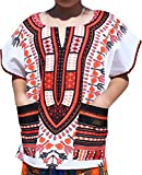 Raan Pah Muang RaanPahMuang Branded Childrens African Dashiki Short Sleeve Shirt In White Tones, 1-3 Years Tall, White Red