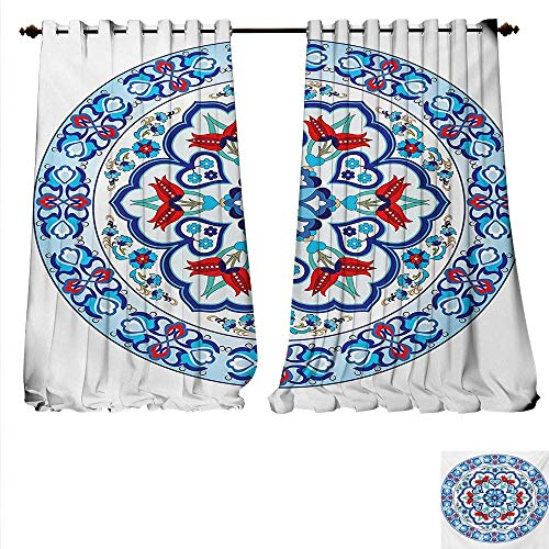 familytaste Drapes for Living Room Ottoman Turkish Style Art with Tulip Period Ceramic Floral Elements European Print Window Curtain Drape W84 x L84 Multicolor.jpg ()