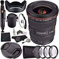 Canon EF 17-40mm f/4L USM Lens + 77mm +1 +2 +4 +10 Close-Up Macro Filter Set with Pouch + LENS CAP 77MM + 77mm Lens Hood + SLR Lens Pouch + Lens Pen Cleaner + Microfiber Cleaning Cloth Bundle