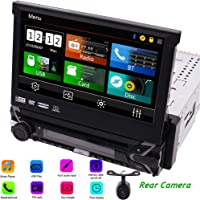 """1 Din 7"""" Car DVD CD Player Single Din in Dash Head Unit with Detachable Panel Support GPS Navigation Stereo Radio Receiver Bluetooth USB Port SD Slot+Remote+8GB Map Card+Rear View Backup Camera"""