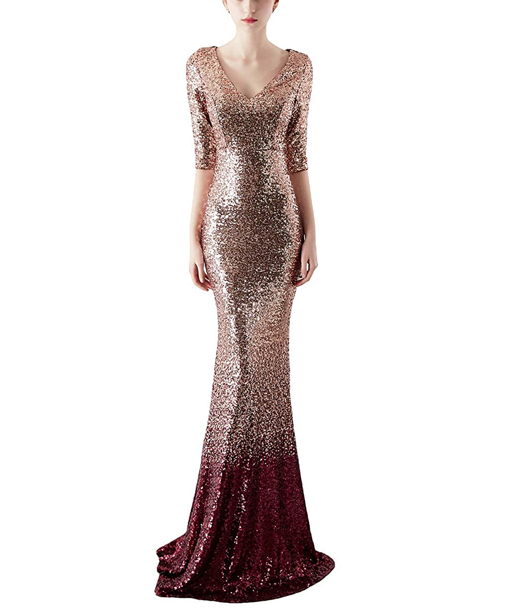 16116goldwine Chowsir Women Sexy Elegant Slim Sequin Long Cocktail Party Evening Dress
