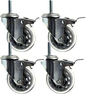 MWPO 4X Caster Wheels with Brakes,Furniture Caster,M8/M10/M12 Bolt,Silent Transparent Casters,Suitable for Home Hospital Schools