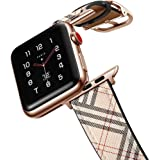 amBand Leather Band Compatible with Apple Watch SE Series 6 38mm 40mm 42mm 44mm, Genuine Leather Vintage Replacement…
