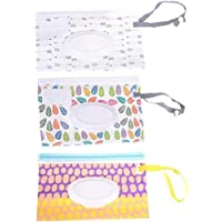 3PCS Wipes Travel Case Wet Wipe Holder Wipes Dispenser Bag Wet Wipe Pouch Window Removable Packaging for Baby Kids…