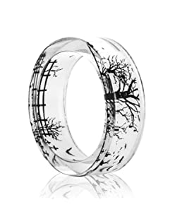 NDJEWELRY Handmade Jewelry Forest Branches Pattern Women's Wedding Resin Band Rings Size 7