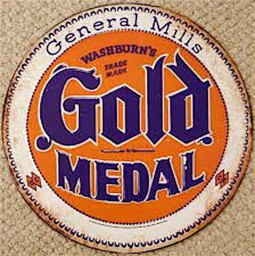 general-mills-washburns-gold-medal-embossed-distressed-metal-sign-blue-orange