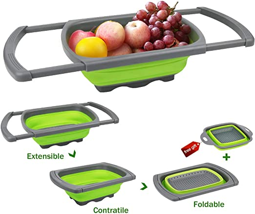 Fruits Collapsible Kitchen Colander// Strainer for Draining Pasta Vegetable