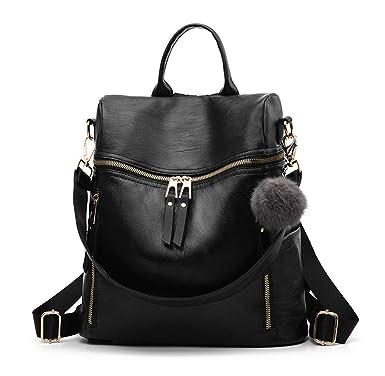 17b0021346 Amazon.com: Designer Leather Backpack Purse Multifunctional Ladies Backpacks  Solid Shoulder Headphone Plug Bags for Womens Book Bags: BAG WIZARD