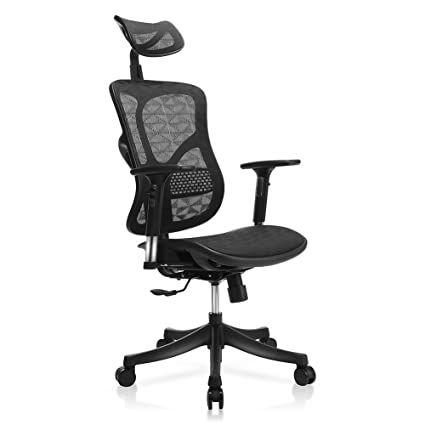 Beau TomCare Office Chair Ergonomic Mesh Office Chair Modern With Rotation  Headrest, Adjustable Backrest, Armrest