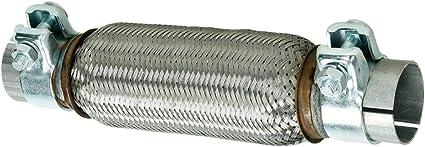 ECD Germany Flex Tubo de Acero Inoxidable 60 x 250 mm con 2 Abrazaderas Sistema de Escape