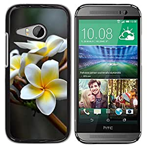 LECELL--Funda protectora / Cubierta / Piel For HTC ONE MINI 2 / M8 MINI -- FLOR BLANCA --