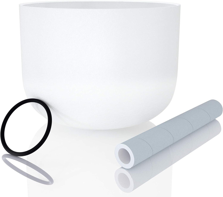 Juego de cuenco de cristal de cuarzo esmerilado con mazo y junta tórica incluidos, 20 cm, color blanco, para cantar, meditación, relajación
