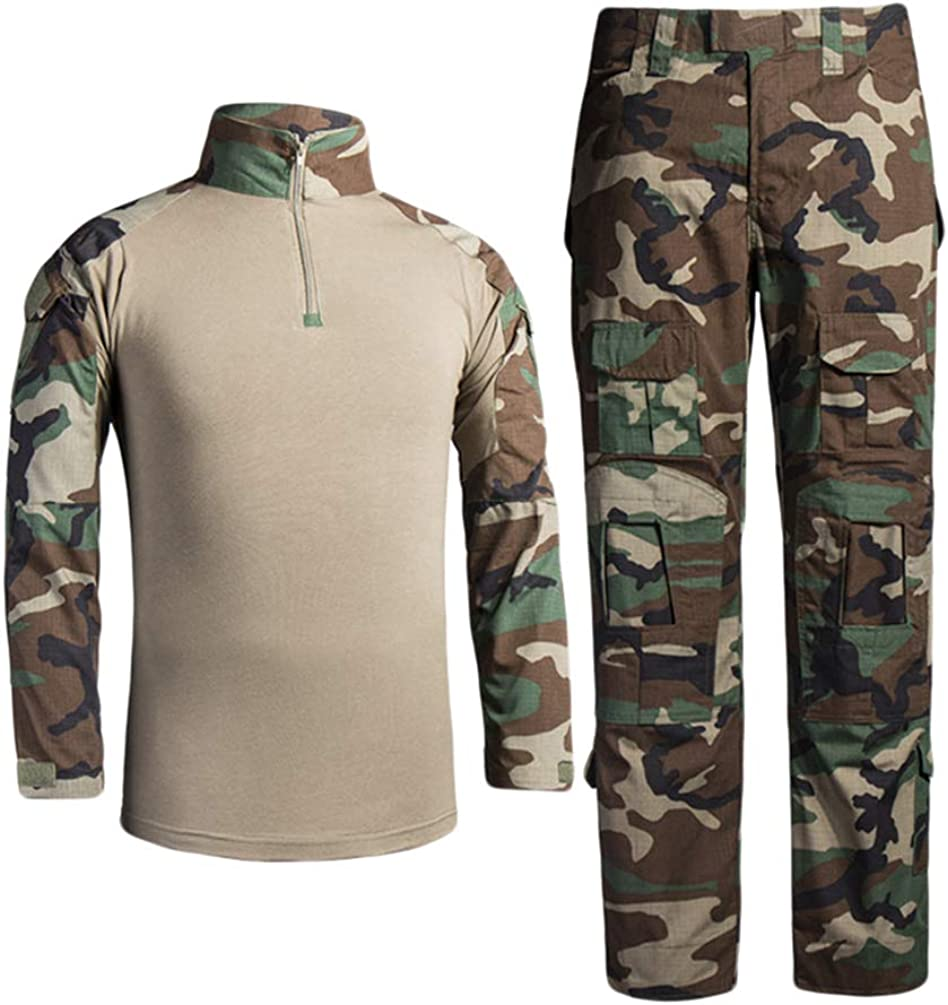 Zhiyuanan Herren Outdoor Milit/är Camouflage Anzug 2 St/ück Sets Taktische Army Langarm Hemd Shirts Multi-Tasche Camo Wander Hosen Tarnfarben Tarnmuster Trekking Kleidung