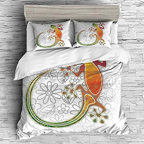 - iPrint All Season Flannel Bedding Duvet Covers Sets for Girl Boy Kids 4 Pcs (Double Size) Batik Decor,Native Southeast Asian Common House Gecko Colorful Moon Lizard Tropical Monster,Multicolor
