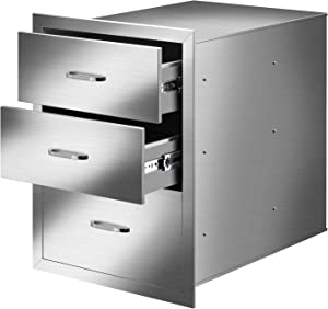 ROVSUN BBQ Outdoor Kitchen Drawers 304 Stainless Steel Triple Drawers with Stainless Steel Handle Flush Mount for Outdoor Kitchen or BBQ Island