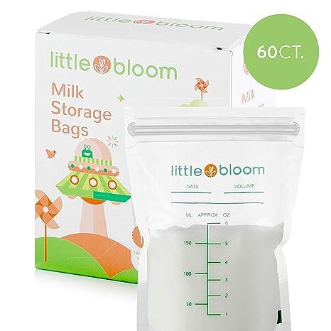 Lot de 60 sachets de conservation de lait par Littlebloom Sachets de conservation de lait sans BPA stérilisés avec fermeture hermétique Allaitement
