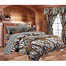 20 Lakes Camo Comforter, Sheet, & Pillowcase Set (Cal King, White/Gray)