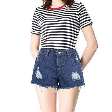 BOJIN - Pantalones Cortos de Jean para Mujer, Sexy, con Corbata y ...