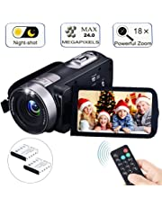 "Digital Camcorder with IR Night Vision, iBacakys Portable Mini Handheld Video Camera 24.0 Mega Pixels DV 3"" LCD Screen 18X Digital Zoom ( (Two Batteries Included)"