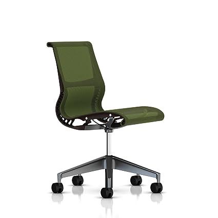 Herman Miller Setu silla: sin reposabrazos – ruedas para suelo duro – Java marco/