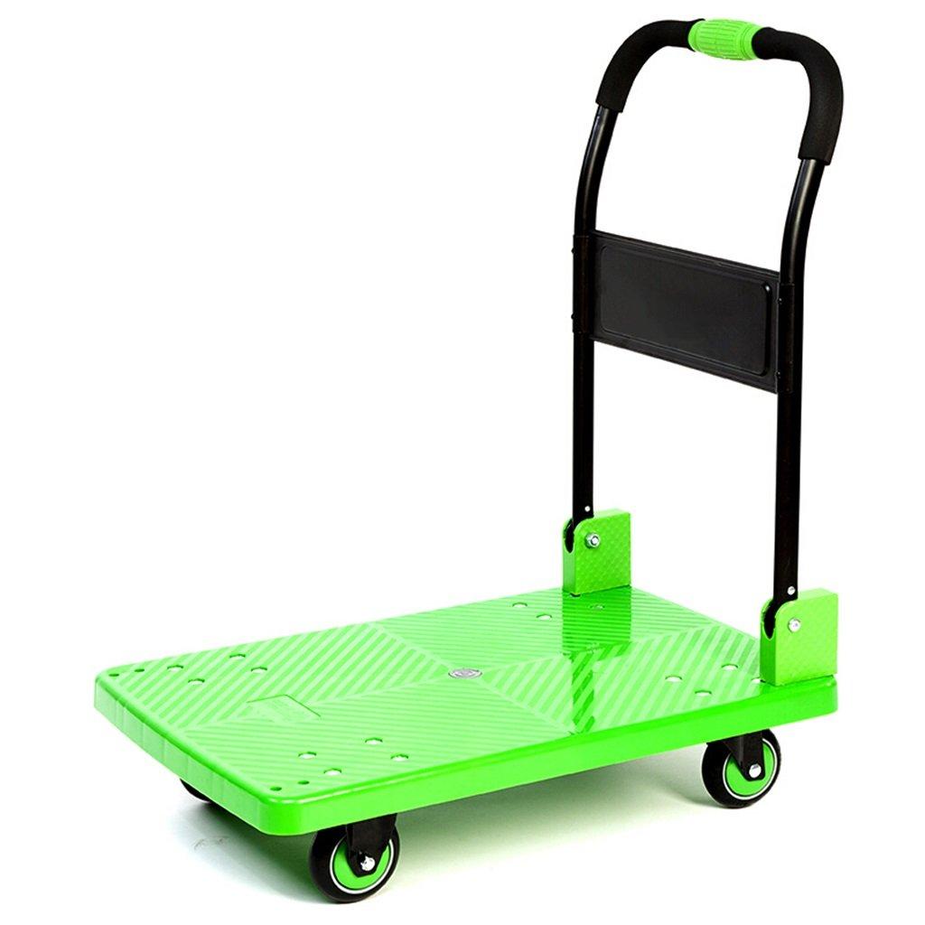 ハンドトラックフラットベッドトラックトロリートラックを押すトラック小型トレーラーミュートホイールプラスチックスチールレバーカーロード200 Kg 丈夫で持ち運びやすい (色 : Green)  Green B07FB68TD1