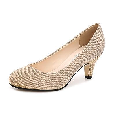 508964b56ce2 Women s Closed Round Toe Low Kitten Heel Slip On Dress Pump Gold Glitter  Tag 35 -